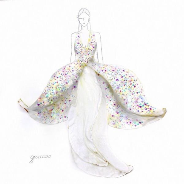本物の花を使ったドレスのファッションイラスト 地球ニュース