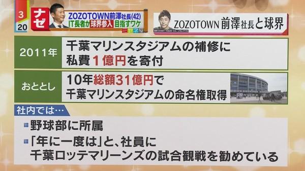 ZOZO前澤「うちの社員には年に一度ロッテ戦の試合観戦を勧めている」