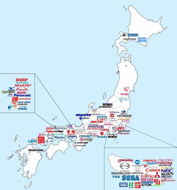 有名な日本企業の本社の位置を記していった日本地図が凄いと海外