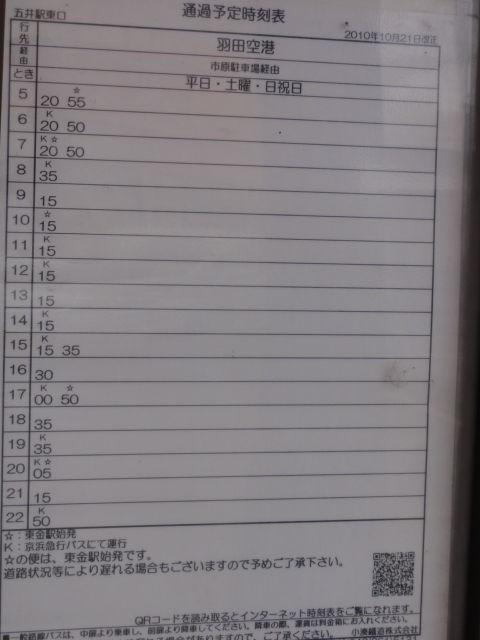 五井 羽田 空港 バス 時刻 表