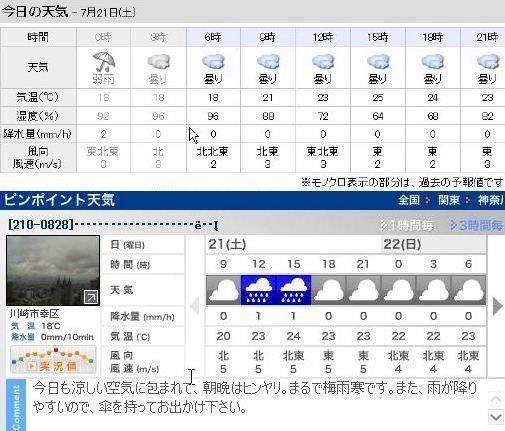 川崎 天気 1 時間