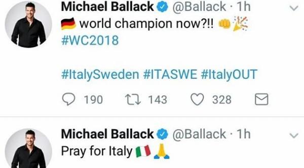 元ドイツ代表バラックがイタリアのW杯予選敗退についてツイート!→ 炎上ww