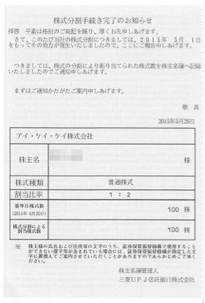 アイケイケイ 株価