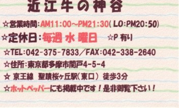 今日のランチ -レストラン神谷@聖蹟桜ヶ丘- : 彷徨私事記